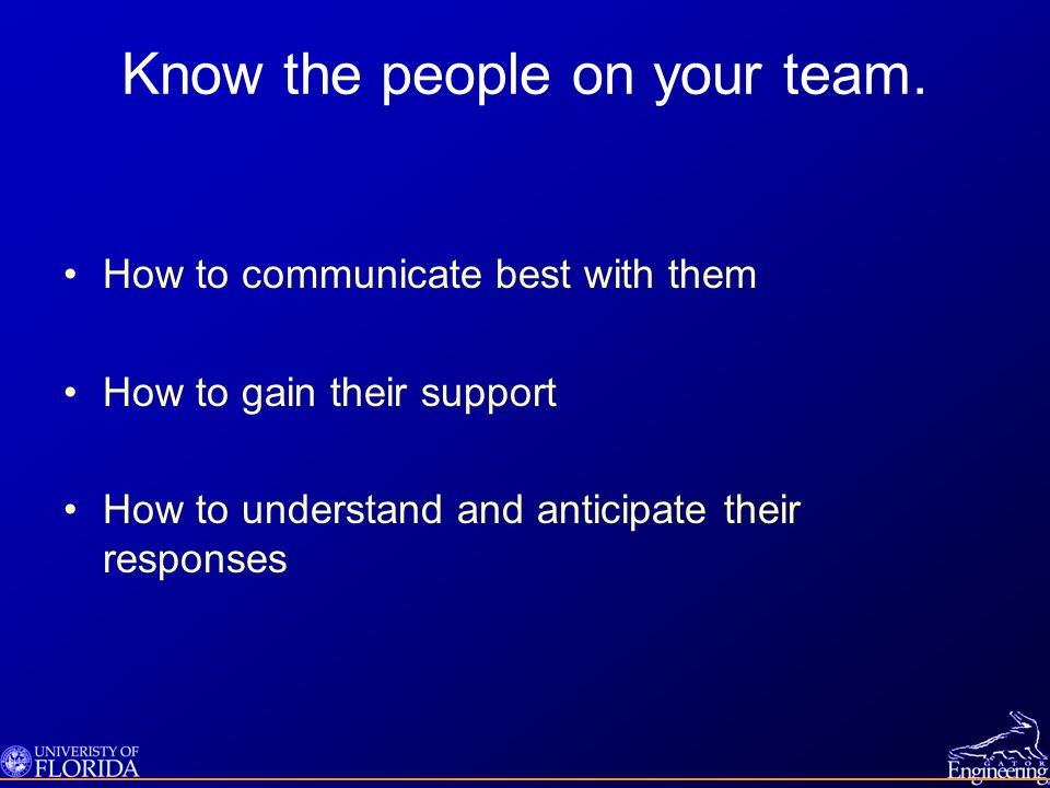 Know the people on your team.