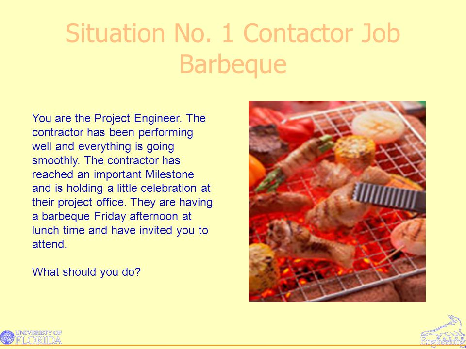 Situation No. 1 Contactor Job Barbeque You are the Project Engineer.
