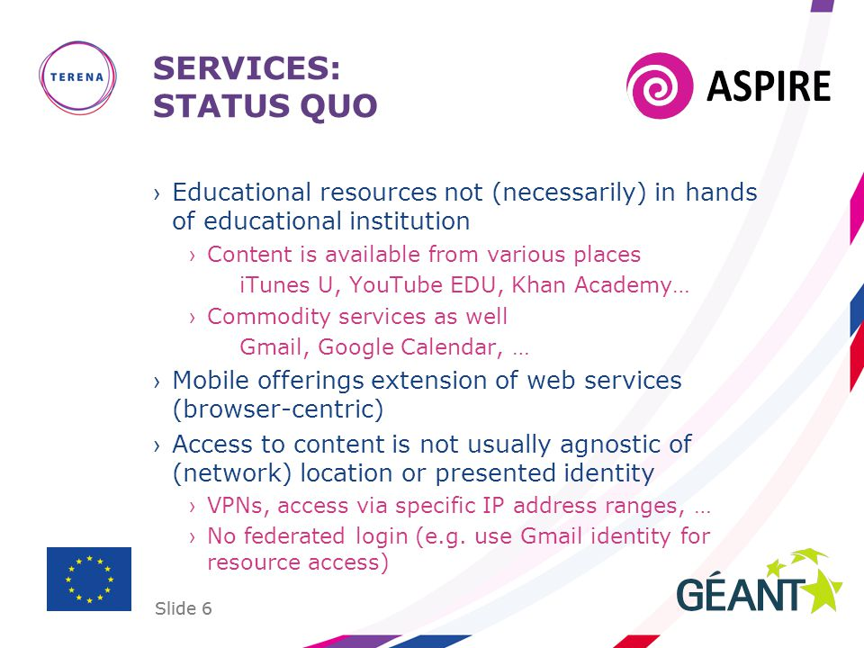 Slide 6 SERVICES: STATUS QUO ›Educational resources not (necessarily) in hands of educational institution ›Content is available from various places iT