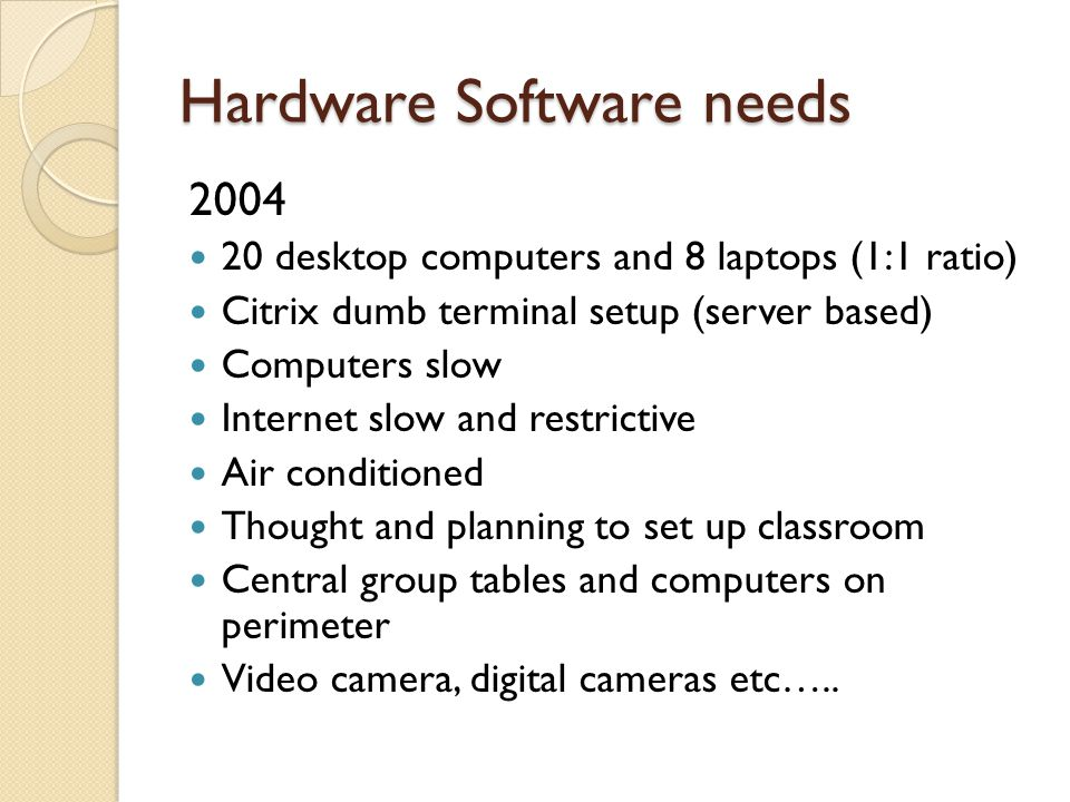 Hardware Software needs 2004 20 desktop computers and 8 laptops (1:1 ratio) Citrix dumb terminal setup (server based) Computers slow Internet slow and restrictive Air conditioned Thought and planning to set up classroom Central group tables and computers on perimeter Video camera, digital cameras etc…..