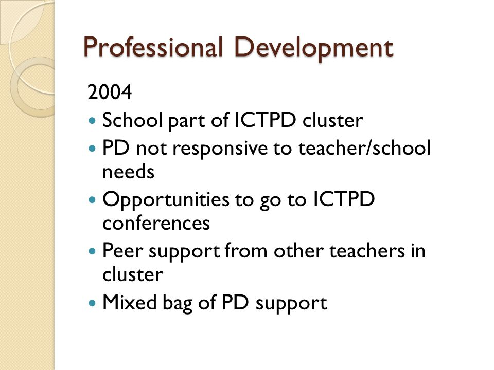 Professional Development 2004 School part of ICTPD cluster PD not responsive to teacher/school needs Opportunities to go to ICTPD conferences Peer support from other teachers in cluster Mixed bag of PD support