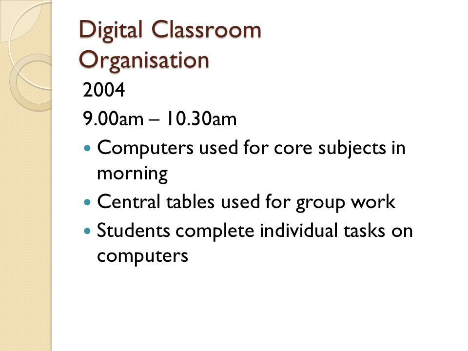 Digital Classroom Organisation 2004 9.00am – 10.30am Computers used for core subjects in morning Central tables used for group work Students complete individual tasks on computers