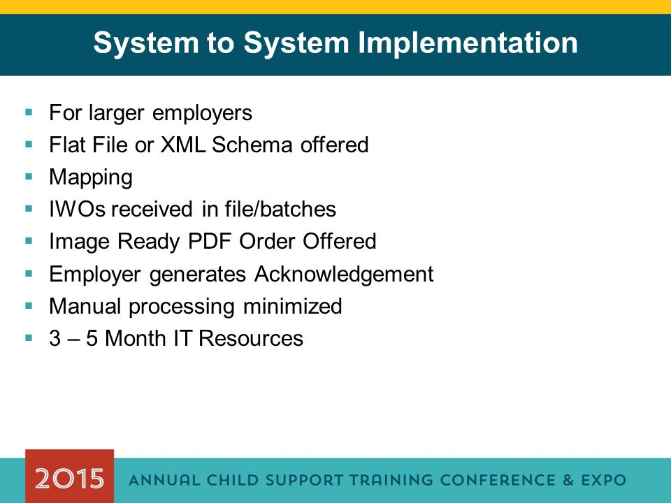 System to System Implementation  For larger employers  Flat File or XML Schema offered  Mapping  IWOs received in file/batches  Image Ready PDF Order Offered  Employer generates Acknowledgement  Manual processing minimized  3 – 5 Month IT Resources