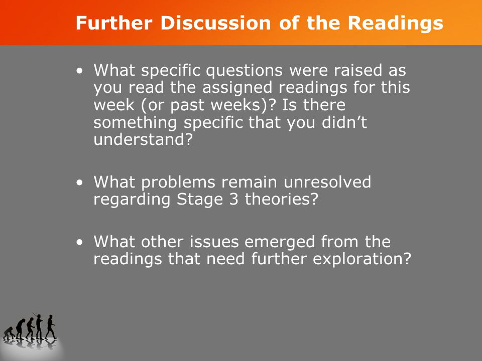 Further Discussion of the Readings What specific questions were raised as you read the assigned readings for this week (or past weeks).