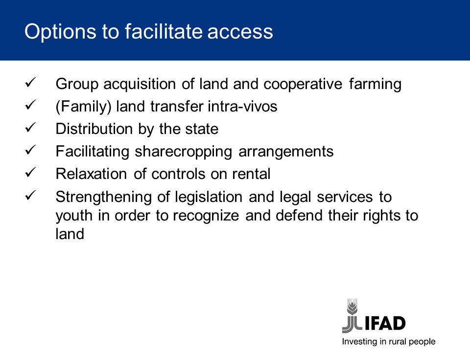 Options to facilitate access Group acquisition of land and cooperative farming (Family) land transfer intra-vivos Distribution by the state Facilitati
