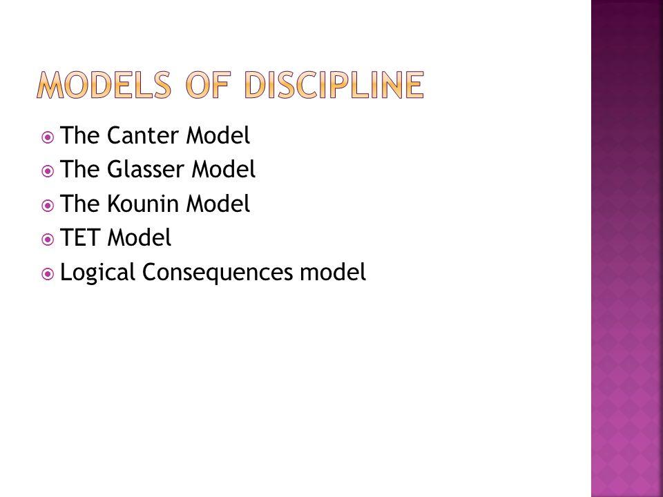  The Canter Model  The Glasser Model  The Kounin Model  TET Model  Logical Consequences model