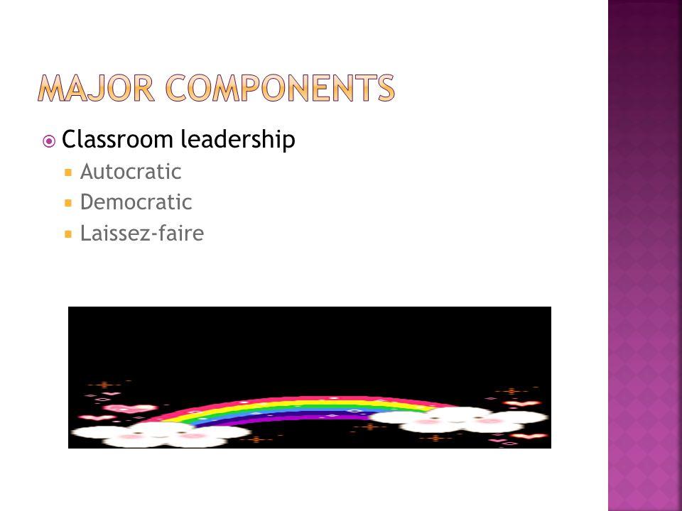 Classroom leadership  Autocratic  Democratic  Laissez-faire