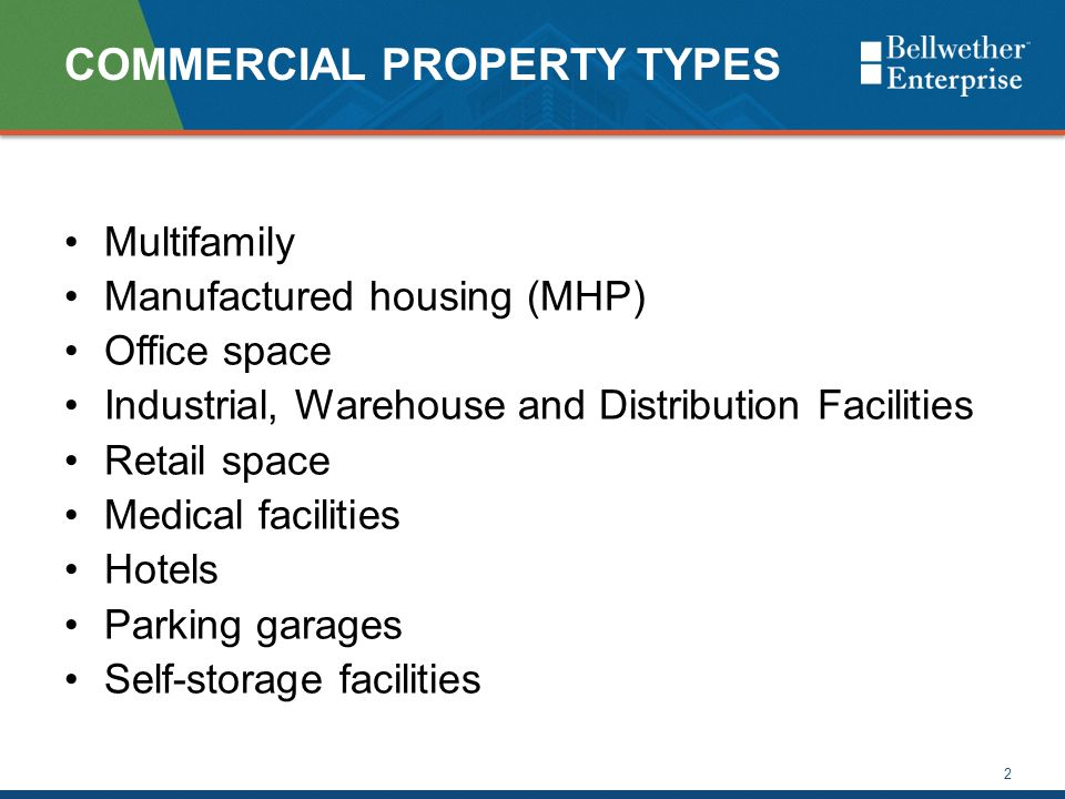 COMMERCIAL PROPERTY TYPES Multifamily Manufactured housing (MHP) Office space Industrial, Warehouse and Distribution Facilities Retail space Medical f