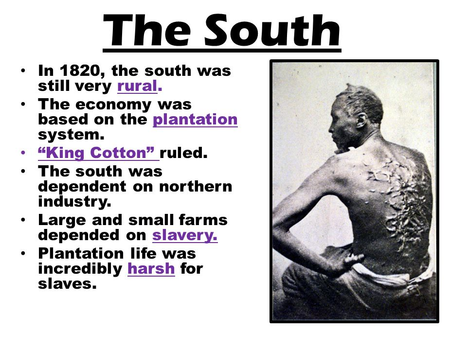 The South In 1820, the south was still very rural.