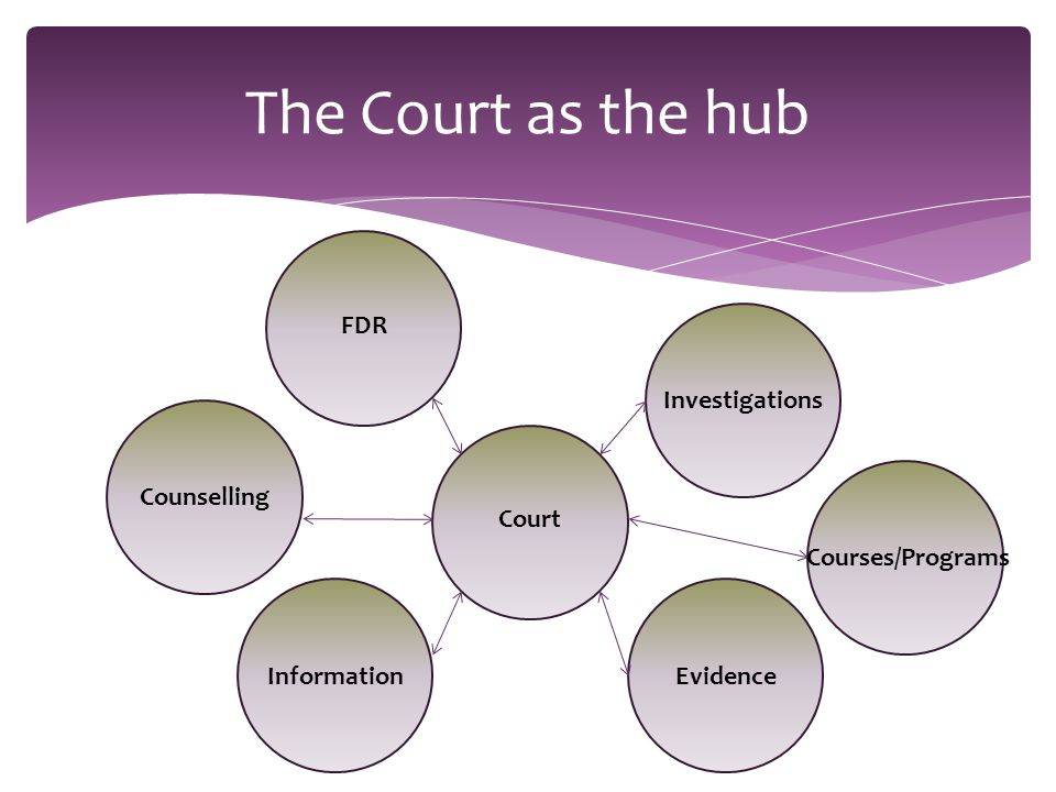The Court as the hub Court FDR Counselling Information Investigations Courses/Programs Evidence