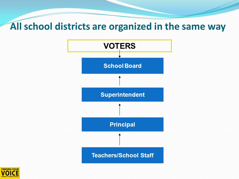All school districts are organized in the same way School Board Superintendent Principal Teachers/School Staff VOTERS