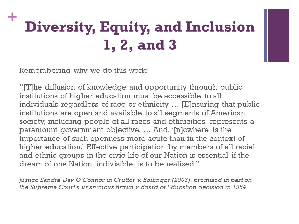 + Diversity, Equity, and Inclusion - 1 11:00am to Noon What will we cover: 1.