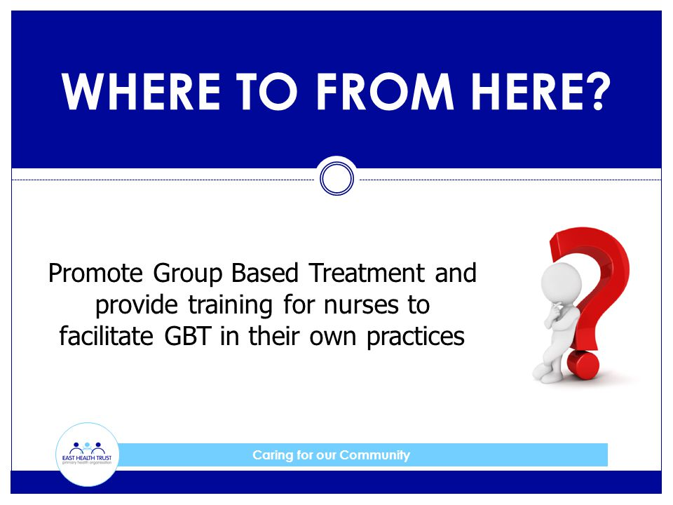 Caring for our Community WHERE TO FROM HERE? Promote Group Based Treatment and provide training for nurses to facilitate GBT in their own practices