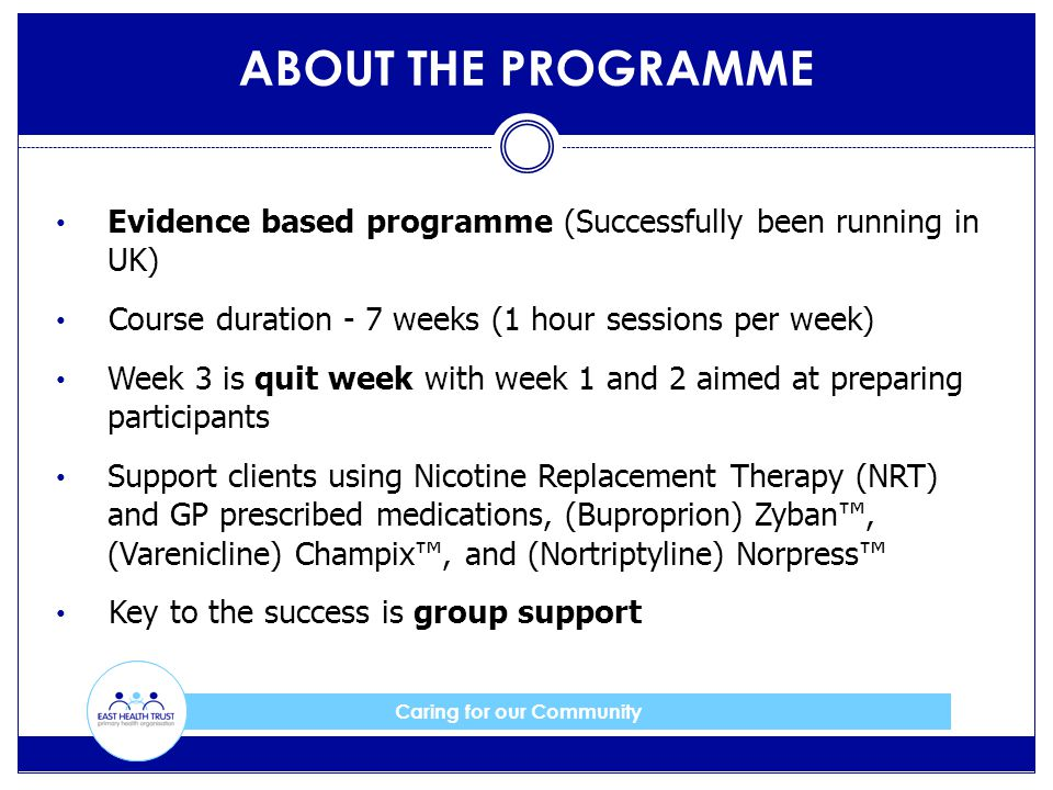 Caring for our Community Evidence based programme (Successfully been running in UK) Course duration - 7 weeks (1 hour sessions per week) Week 3 is quit week with week 1 and 2 aimed at preparing participants Support clients using Nicotine Replacement Therapy (NRT) and GP prescribed medications, (Buproprion) Zyban™, (Varenicline) Champix™, and (Nortriptyline) Norpress™ Key to the success is group support ABOUT THE PROGRAMME