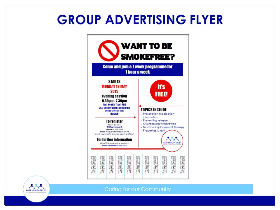 Caring for our Community GROUP ADVERTISING FLYER
