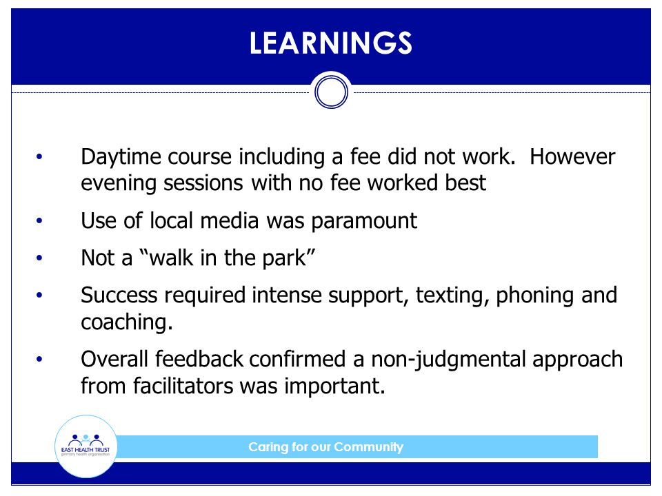 Caring for our Community LEARNINGS Daytime course including a fee did not work. However evening sessions with no fee worked best Use of local media wa