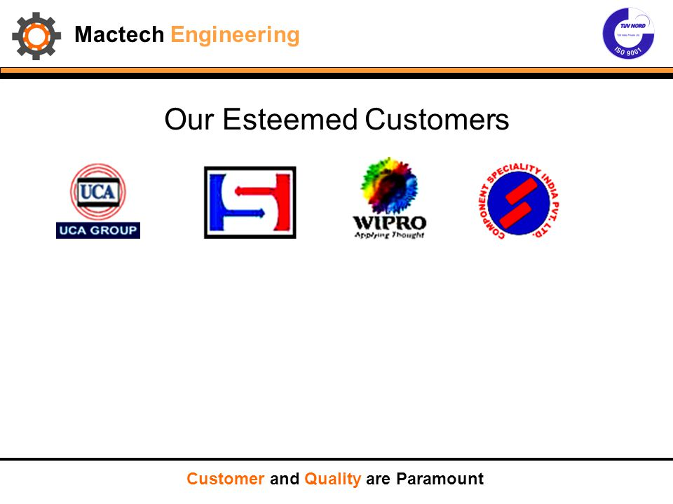 Mactech Engineering Customer and Quality are Paramount PURCHASE ORDER SALES REVIEW PREPARE DESP PLAN IDENTIFY VENDORS RELEASE PO WITH SCHEDULE, DRAWINGS AND SPECIFICATIONS STATUS FOLLOW UP WITH VENDORS QC INSPECTION FINAL DOC AUDIT DESPATCH CLEARENCE PREPARATION OF INVOICE AND PACKING LIST PACKING AND DESPATCH MQP/FEASABILITY STUDY MAKE/BUY DECISION MACTECH SHOP ORDER EXECUTION FLOW CHART IF NEW MAKE BUY RTV NOT OK MACTECH SHOP DESPATCH PLAN PPAPINSP PLANPRODN PLANR/M PLAN.INDENT INPROCESS INSP INCOMING INSPR/M RECEIPT/GRN RET TO VENDOR TAKE UP FOR PRODUCTION REJECT OK JOB CARD ROUTE CARD CONTINUE PRODUCTION FINAL INSPECTION DOC AUDIT RET TO REWORK OK REJ/REW DMR PACK AND DESP OK