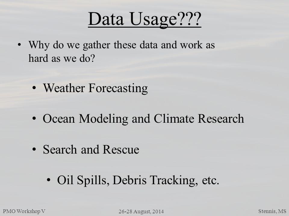 PMO Workshop V 26-28 August, 2014 Stennis, MS Data Usage .