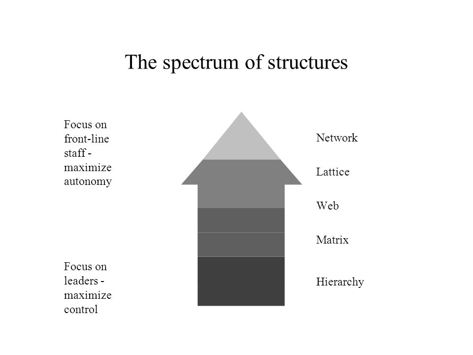 The spectrum of structures Network Lattice Web Matrix Hierarchy Maximize innovation, flexibility, and adaptation Maximize accountability and stability