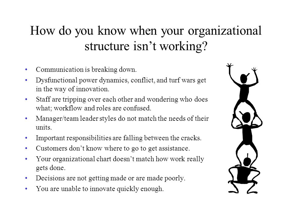 How do you know when your organizational structure isn't working.