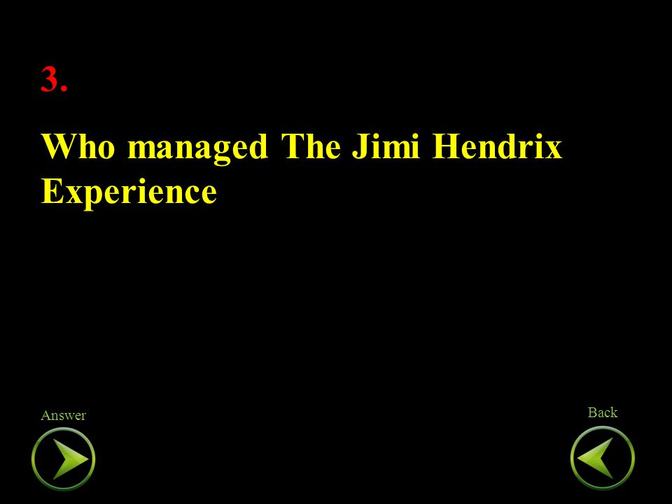 3. Who managed The Jimi Hendrix Experience 3. Who managed The Jimi Hendrix Experience Back Answer