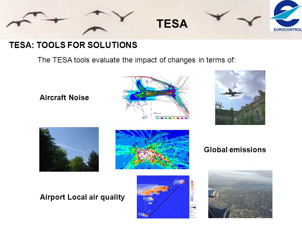 TESA TESA: TOOLS FOR SOLUTIONS The TESA tools evaluate the impact of changes in terms of: Aircraft Noise Global emissions Airport Local air quality
