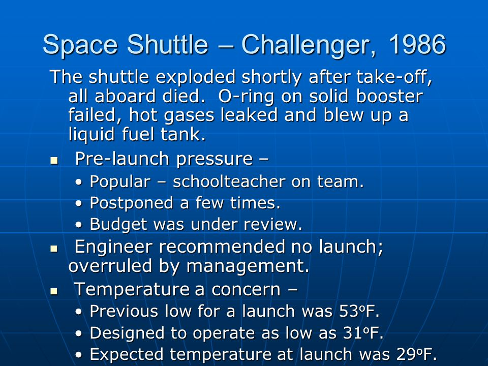 Space Shuttle – Challenger, 1986 The shuttle exploded shortly after take-off, all aboard died.