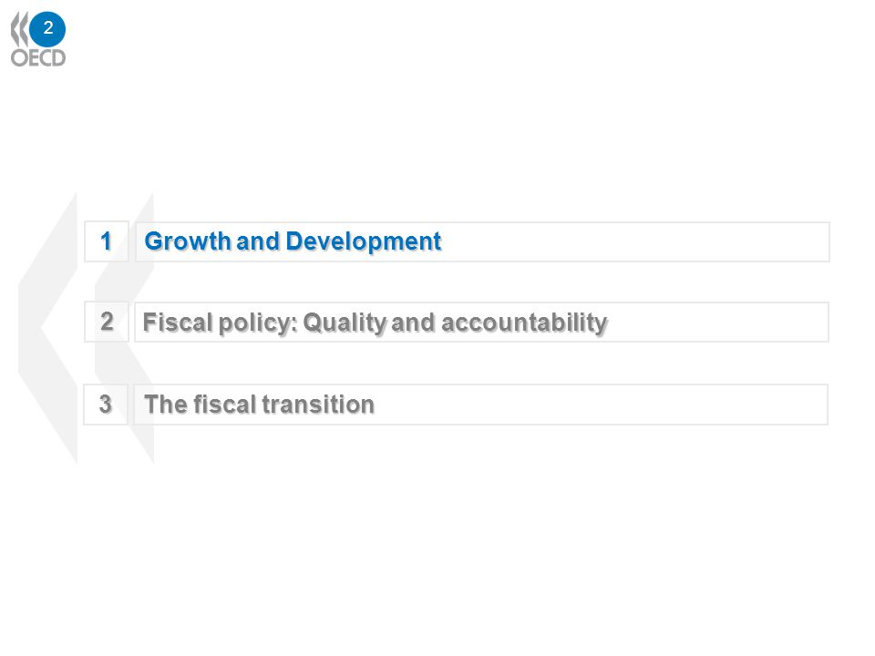 2 1 Growth and Development 3 The fiscal transition 2 Fiscal policy: Quality and accountability