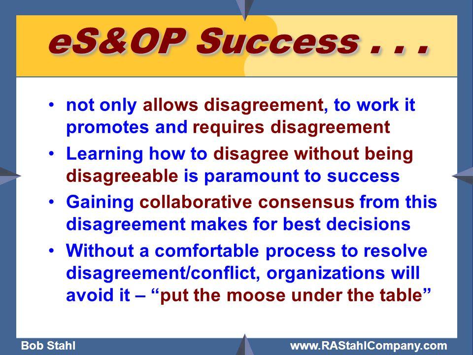 Bob Stahl www.RAStahlCompany.com eS&OP Success...