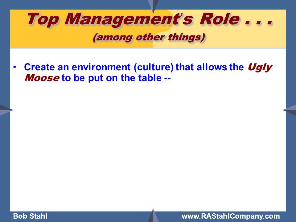 Bob Stahl www.RAStahlCompany.com Top Management's Role...