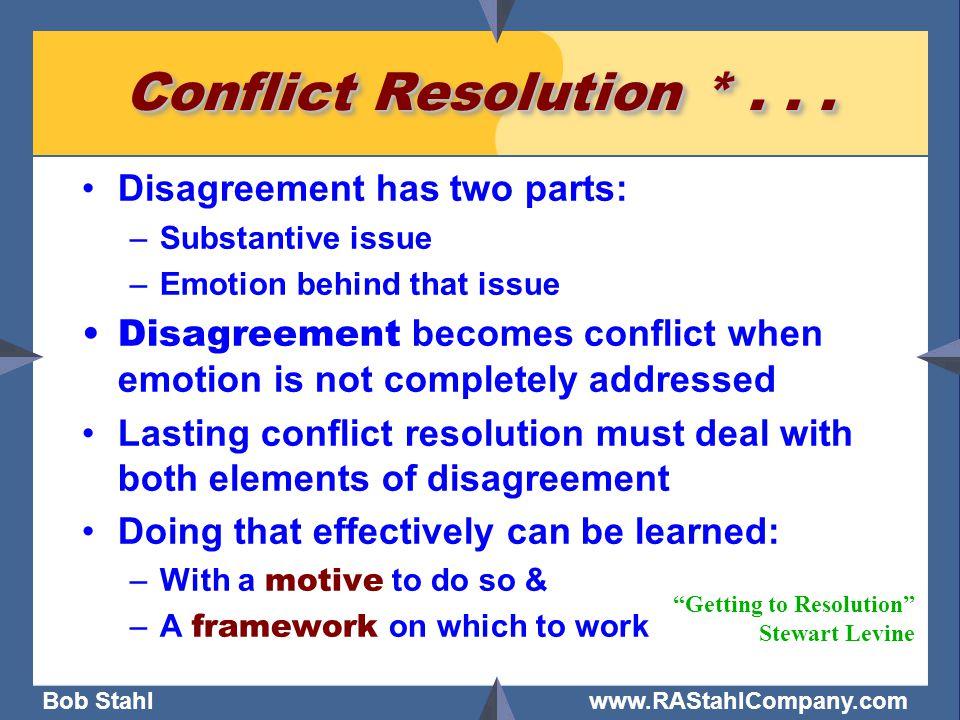 Bob Stahl www.RAStahlCompany.com Conflict Resolution *...