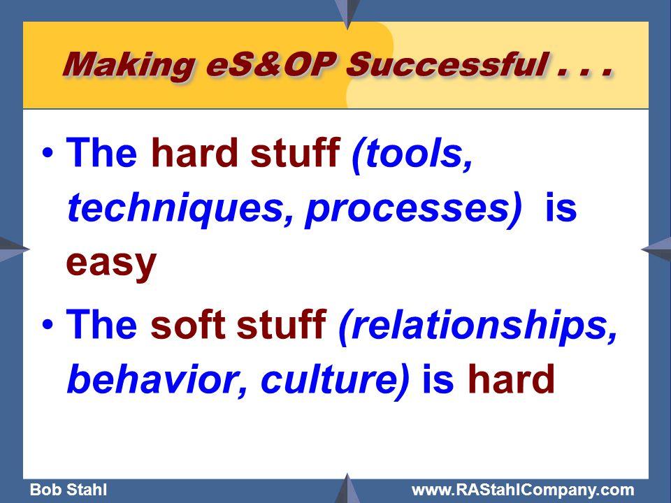 Bob Stahl www.RAStahlCompany.com Making eS&OP Successful... The hard stuff (tools, techniques, processes) is easy The soft stuff (relationships, behav