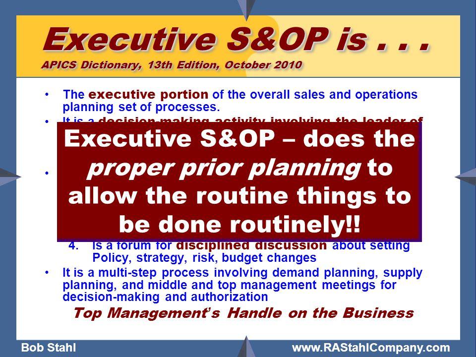 Bob Stahl www.RAStahlCompany.com Executive S&OP is...