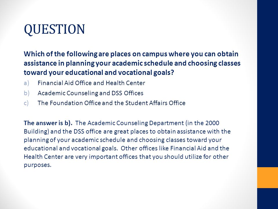 QUESTION Which one of the following is an example of advocating for yourself on campus.