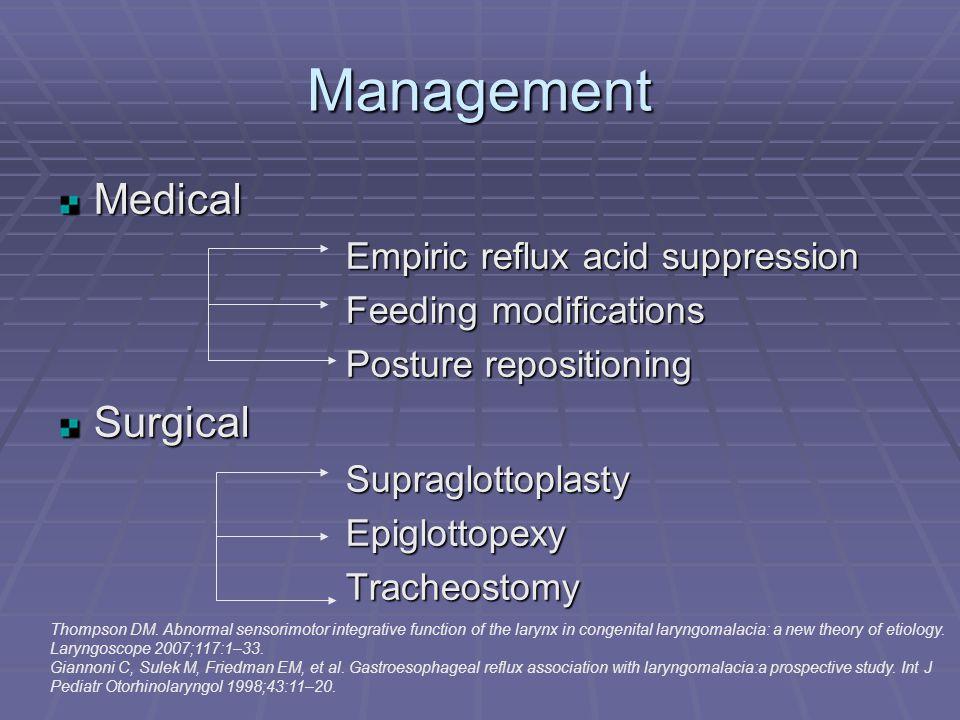 Management Medical Empiric reflux acid suppression Feeding modifications Posture repositioning SurgicalSupraglottoplastyEpiglottopexyTracheostomy Thompson DM.