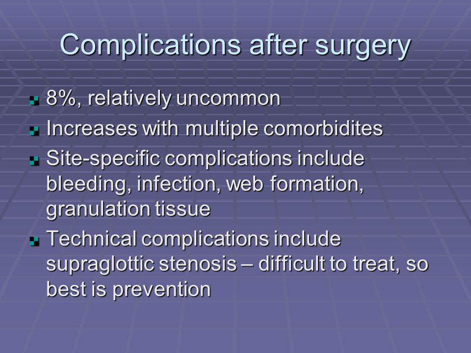 Complications after surgery 8%, relatively uncommon Increases with multiple comorbidites Site-specific complications include bleeding, infection, web formation, granulation tissue Technical complications include supraglottic stenosis – difficult to treat, so best is prevention