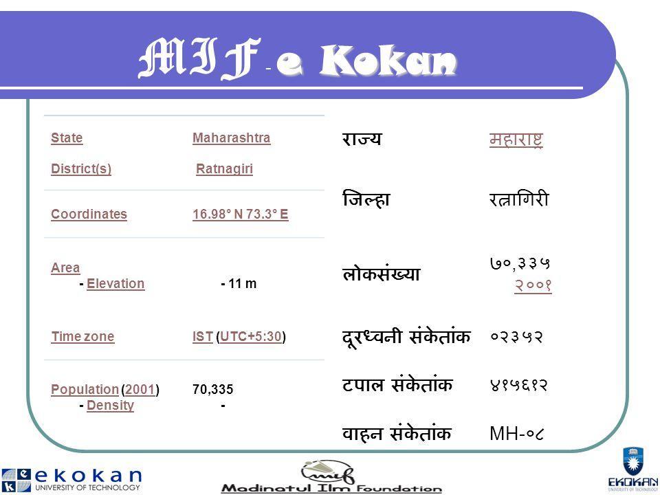 e Kokan MIF - e Kokan State District(s) Maharashtra Ratnagiri Coordinates16.98° N 73.3° E Area Area - ElevationElevation - 11 m Time zoneISTIST (UTC+5:30)UTC+5:30 PopulationPopulation (2001) - Density2001Density 70,335 - राज्यमहाराष्ट्र जिल्हारत्नागिरी लोकसंख्या ७०, ३३५ २००१ २००१ दूरध्वनी संकेतांक०२३५२ टपाल संकेतांक४१५६१२ वाहन संकेतांक MH- ०८