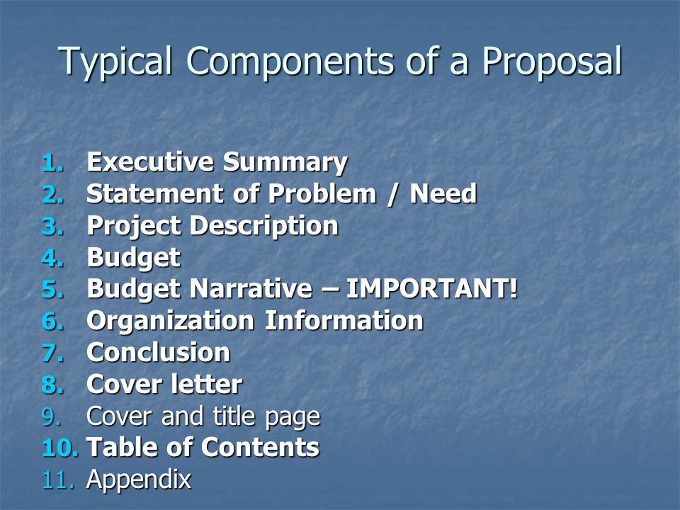 Typical Components of a Proposal 1.Executive Summary 2.