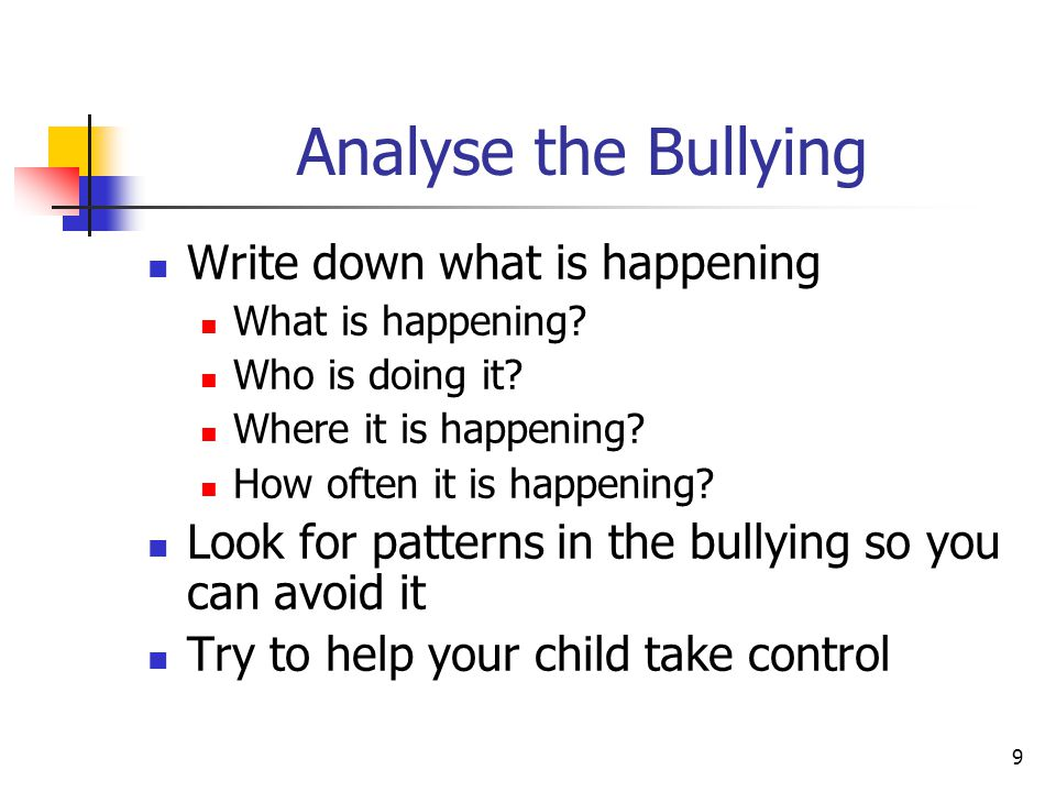 9 Analyse the Bullying Write down what is happening What is happening.