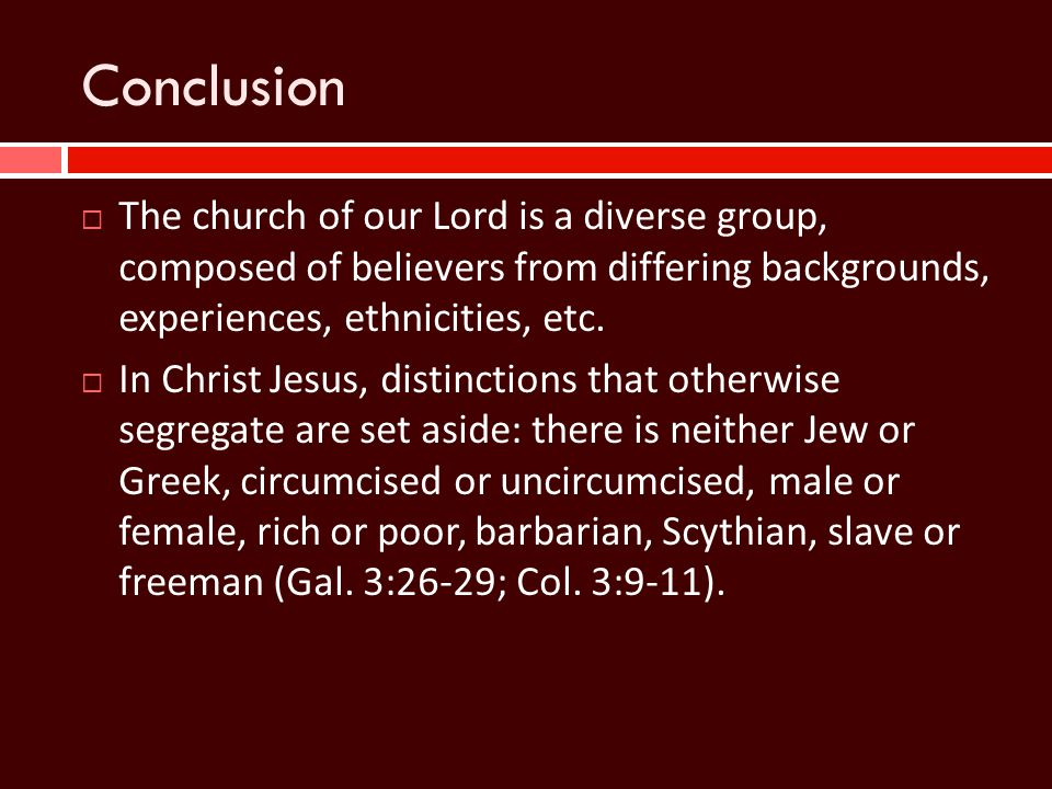 Conclusion  The church of our Lord is a diverse group, composed of believers from differing backgrounds, experiences, ethnicities, etc.  In Christ J