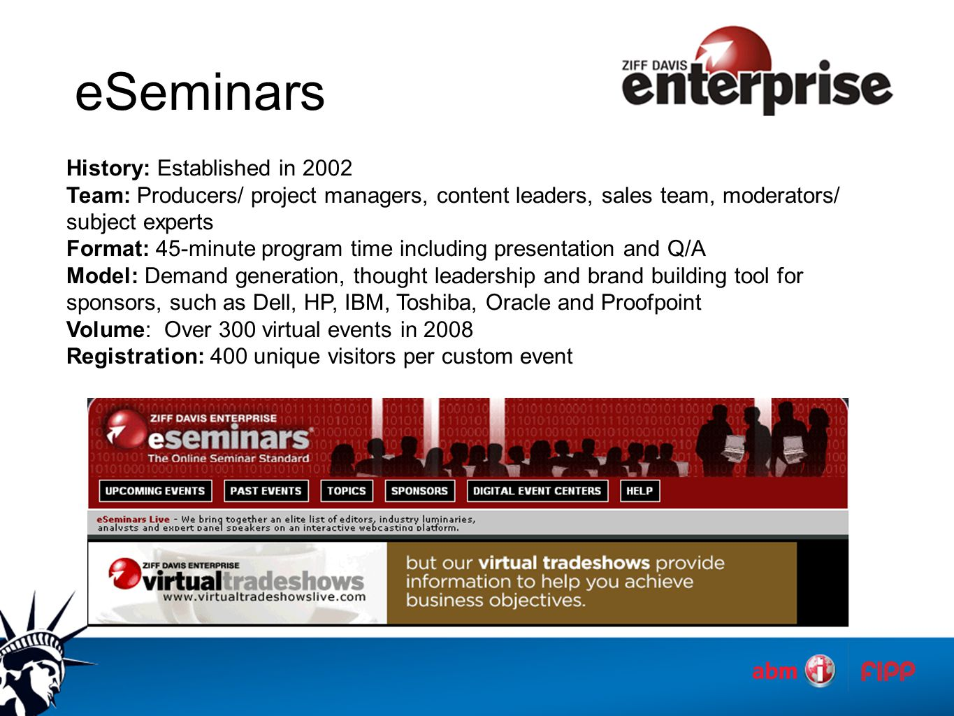 eSeminars History: Established in 2002 Team: Producers/ project managers, content leaders, sales team, moderators/ subject experts Format: 45-minute program time including presentation and Q/A Model: Demand generation, thought leadership and brand building tool for sponsors, such as Dell, HP, IBM, Toshiba, Oracle and Proofpoint Volume: Over 300 virtual events in 2008 Registration: 400 unique visitors per custom event
