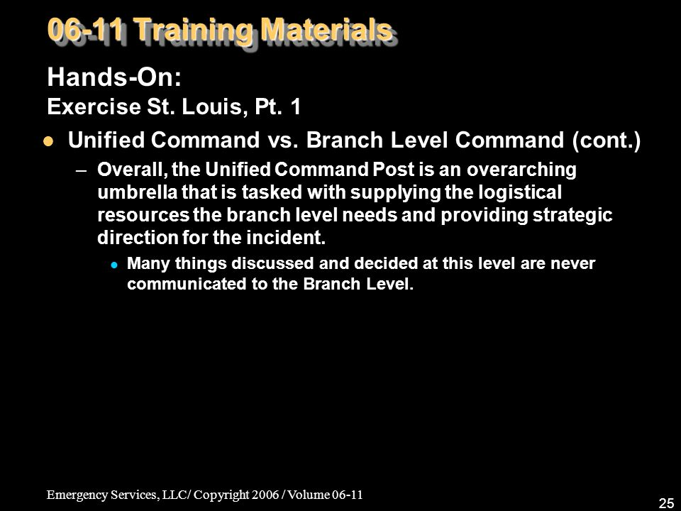 Emergency Services, LLC/ Copyright 2006 / Volume 06-11 25 06-11 Training Materials Hands-On: Exercise St.