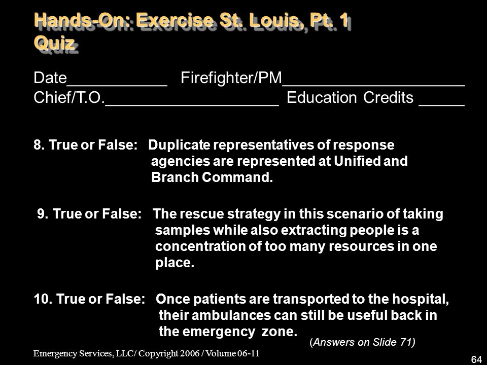 Emergency Services, LLC/ Copyright 2006 / Volume 06-11 64 Date___________ Firefighter/PM____________________ Chief/T.O.___________________ Education C