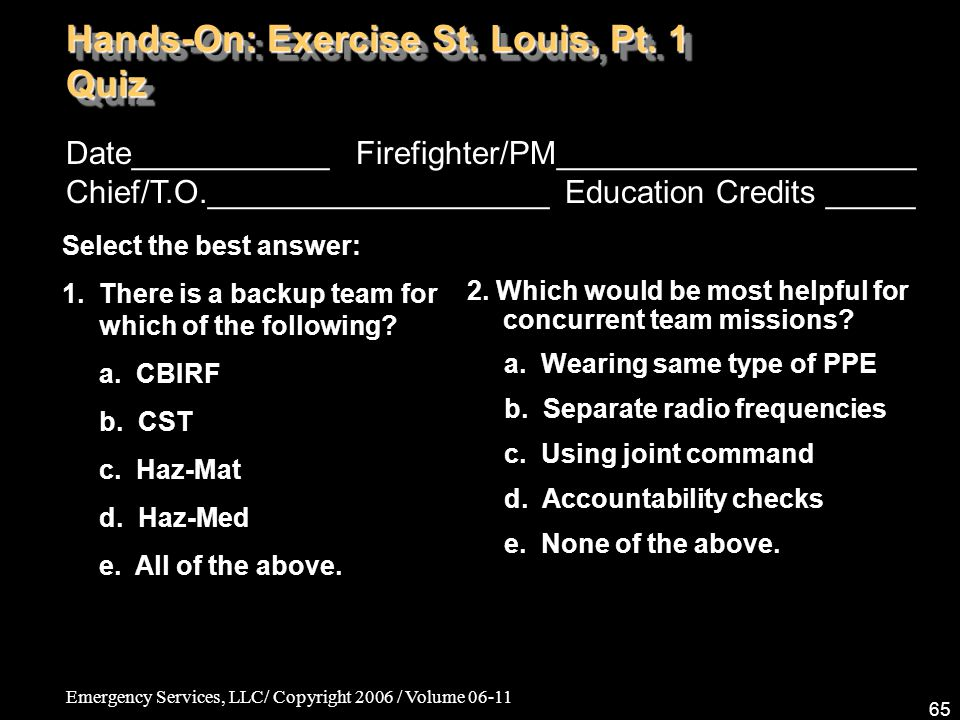 Emergency Services, LLC/ Copyright 2006 / Volume 06-11 65 Date___________ Firefighter/PM____________________ Chief/T.O.___________________ Education C