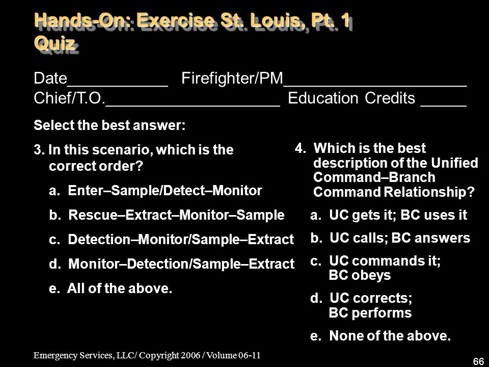 Emergency Services, LLC/ Copyright 2006 / Volume 06-11 66 Date___________ Firefighter/PM____________________ Chief/T.O.___________________ Education C