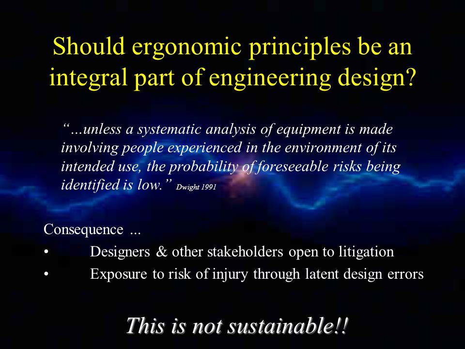 Should ergonomic principles be an integral part of engineering design.