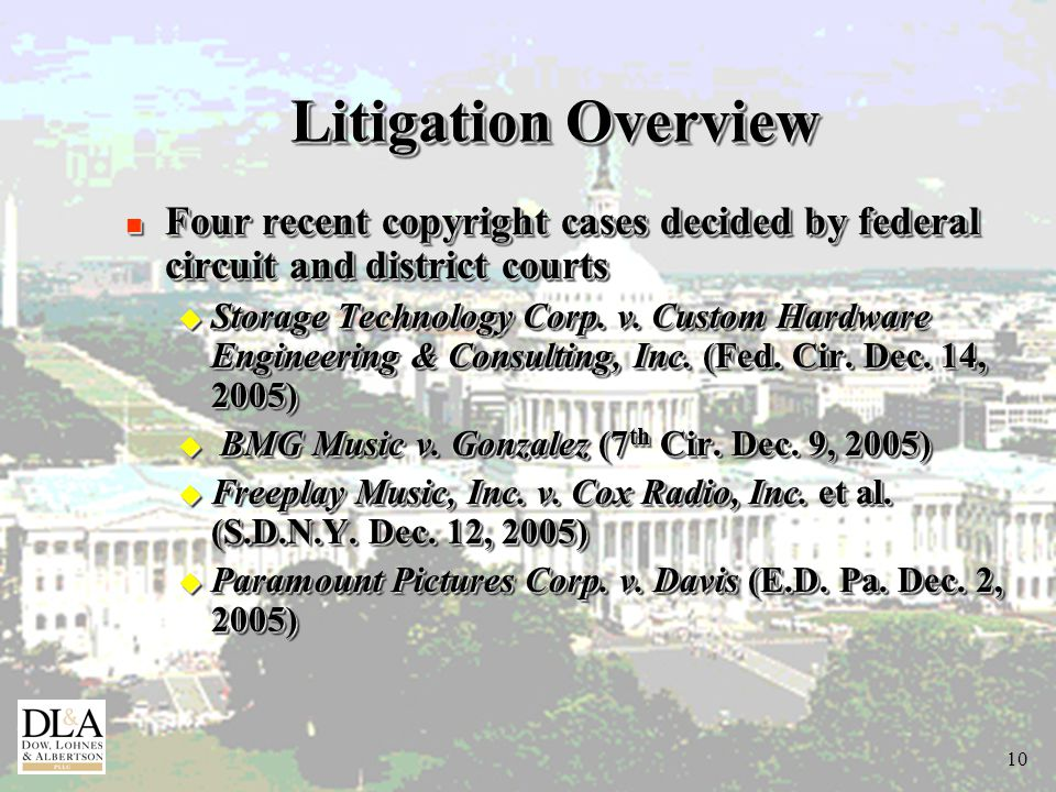 10 Litigation Overview n Four recent copyright cases decided by federal circuit and district courts u Storage Technology Corp.