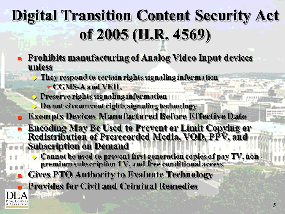 5 Digital Transition Content Security Act of 2005 (H.R.