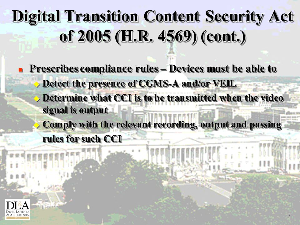 7 Digital Transition Content Security Act of 2005 (H.R.