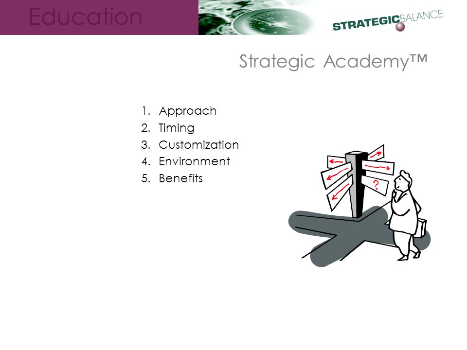 Education Strategic Academy™ 1.Approach 2.Timing 3.Customization 4.Environment 5.Benefits